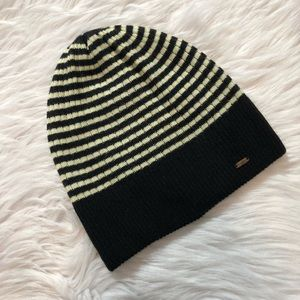 Free People Black and White Striped Beanie